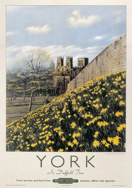 York in Daffodil Time, Yorkshire. Vintage British Railway Travel